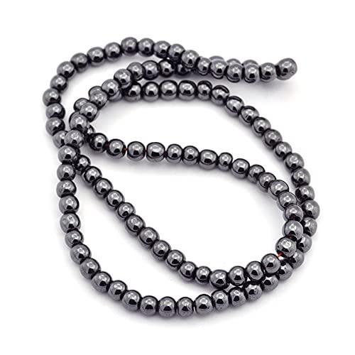 Cheriswelry Hematita de 4 mm (no magnético) de cuentas de hematita sintética negra, separadores de piedra redonda para hacer joyas, alrededor de 102 piezas/hebra