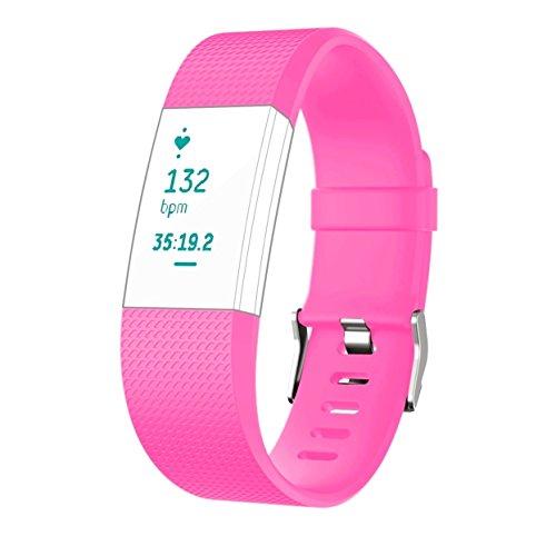 -Fitbit Charge 2 Armband, aus thermoplastischem Polyurethan, Ersatzband für Fitbit Charge 2 Smartwatch, Herzfrequenz, Fitnessband, NEON PINK SIZE L, Large