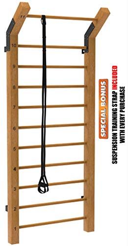 Limitless XVP Fitness Swedish Ladder Wood Stall Bar Suspension Trainer – Physical Therapy & Gymnastics Ladder w/ 11 Strategic Rods - Ideal for Back Pain Scoliosis Exercise Equipment & Range of Motion