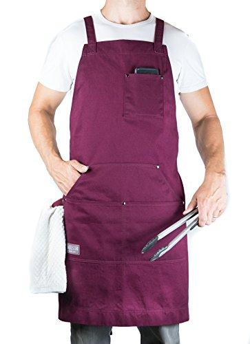 Hudson Durable Goods - Delantal profesional para cocina, barbacoa y parrilla, Burgundy, M to XL
