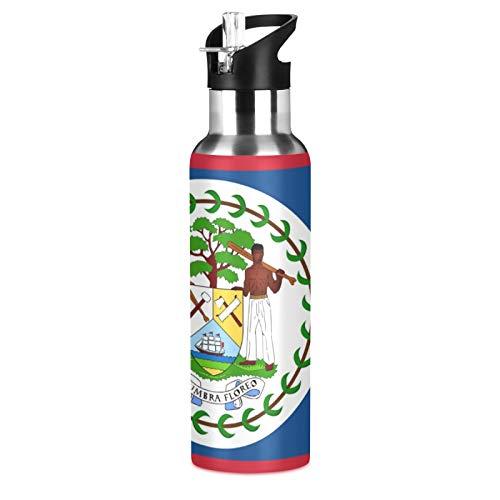 BELIZE - Botella de agua deportiva de acero inoxidable 304, botella de agua aislada al vacío con pajita (600 ml)
