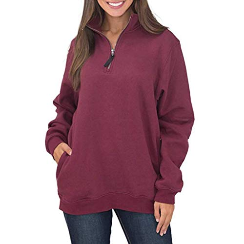 HJHK Sweatshirt Women Casual Long Sleeve 1/4 Zipper Sweatshirts Stand-Up Collar Pullover Tunic with Pockets Loose Solid Color Pullover Blouse Soft Comfortable Sport Top L