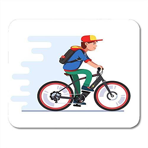 Muis Pads Tiener Jongen Rijden Snelle Elektrische Fiets Kid Het dragen van Rugzak Hoodie En Honkbal Cap Genieten Muis Pad Voor Computers
