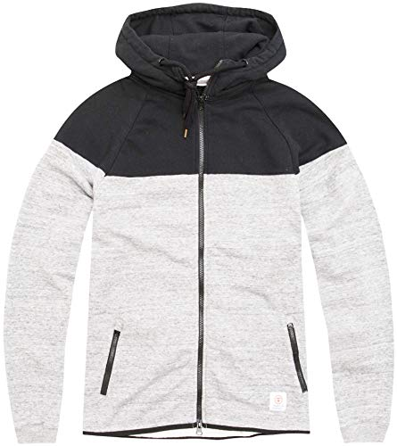 Franklin & Marshall Sudadera para hombre con cremallera y capucha, color negro y blanco, talla XXL