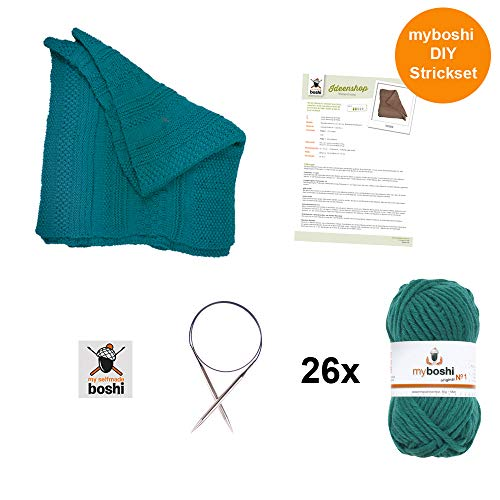 myboshi Strick-Set Decke Tucson | aus No.1 | Anleitung + Wolle | mit passender Stricknadel | Decken-Strick-Set | Smaragd
