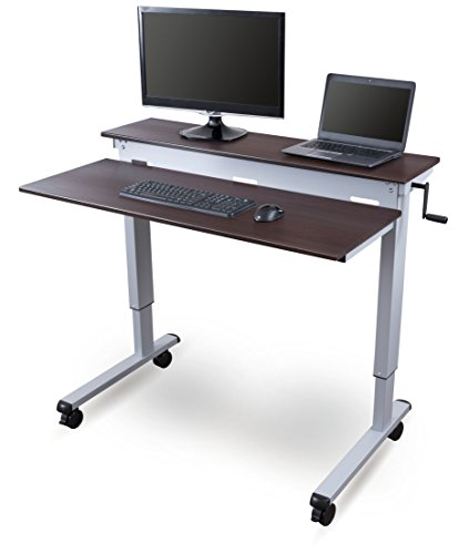 Stand Up Desk Store Crank Adjustable Sit to Stand Up Computer Desk – Heavy Duty Steel Frame, 48...