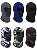 6 Pieces Summer Balaclava Face Mask Breathable Sun Dust Protection Mask Long Neck Cover for Outdoor Activities(Solid Colors, Camouflage Colors)