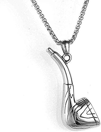 WYDSFWL Collares Joyas de Acero Inoxidable Collar de Hombre Colgante de Tubo Vintage Collar de Acero de Titanio para Mujeres Hombres Moda