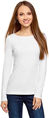 oodji Camiseta Manga Larga Mujer Cuello Redondo