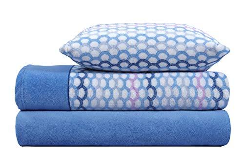 ADP HOME - Juego de sábana coralina 240 GSM Estampado Camelia (Azul, Cama de 105 CM)