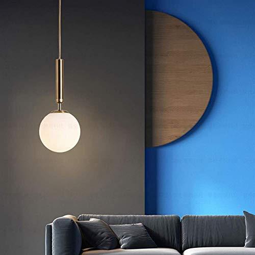 SuRose Globe Ornaments, lámpara Colgante de Bola de Cristal nórdica con Acabado en Bronce, lámpara de Techo de Metal E27 de Altura Ajustable, lámpara Colgante esférica de Interior para Pasillo de c