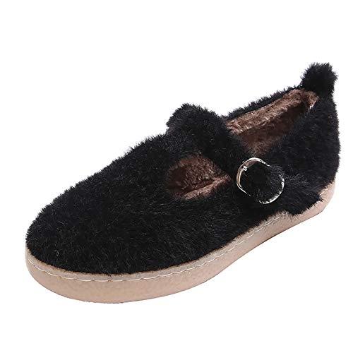 UELEGANS Zapatillas De Estar por Casa para Mujer Slippers Comodos Pantuflas Zapatillas Invierno Peluche Algodón Mujer Casa Zapatos Antideslizante,Negro,35