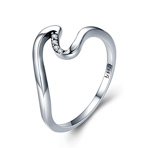 Qings Wave Ring Sterling Silver Ring Birthday Gift for Girls
