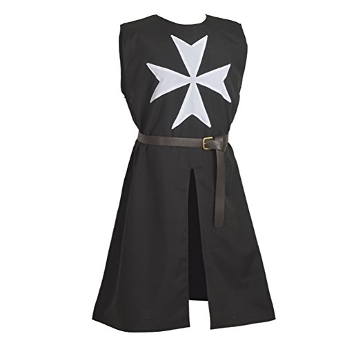Blessume Knight Tunic Medieval Cosplay Costume with Maltese Cross, Black, One size