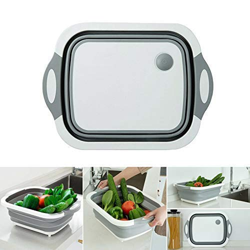 SimpleShow Cutting Board Multi-Function Folding Cutting Board Kitchen Plastic Chopping Board Anti-Mold Sticking Board Cutting Vegetables Fruit Sink Drain Basket 4 in 1