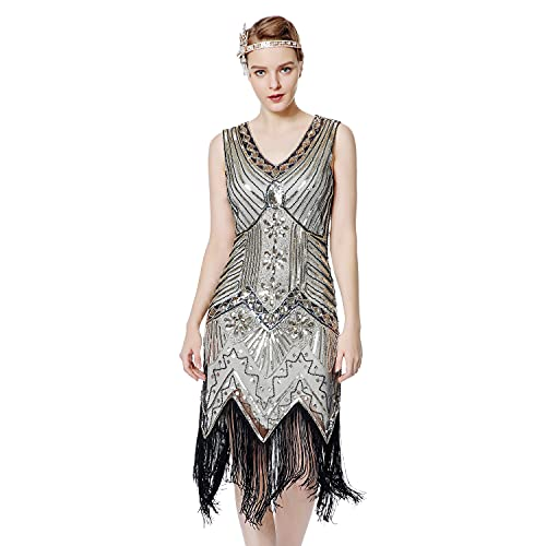Metme Women's Flapper Dress 1920s V Neck Beaded Fringed Gatsby Theme Roaring 20s Dress for Prom Champagne Gold