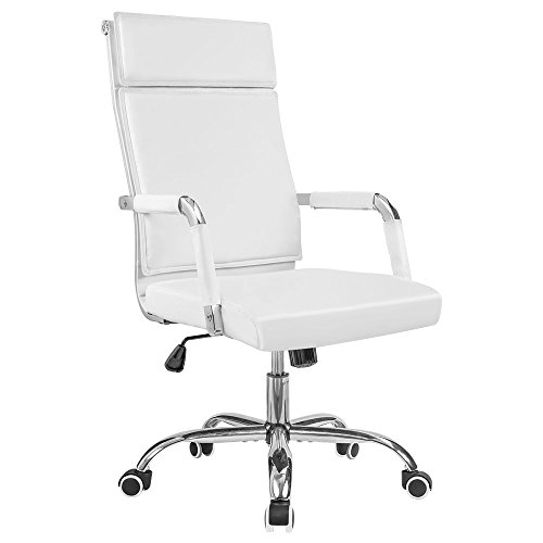 Homall Office Desk Chair Mid-Back Computer Chair Leather Executive Adjustable Swivel Task Chair Conference Chair with Armrests (White)