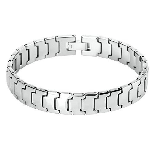 Adisaer Hommes Accessoires Acier inoxydable Bracelet Lettre Noir Ruban Longueur:20.2cm Contrat de Mariage Anniversaire Présent