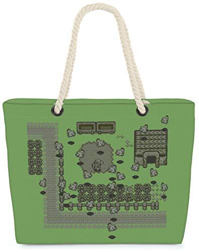 VOID XXL Strandtas Link Retro Spel Shoppertas 60 x 38 x16 cm 36L beach bag game gamer Hyrule pixel, Kissen Farbe:Grijs