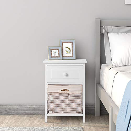 Clnelec Fully Assembled White Shabby Chic Bedside Table Set Of 2pcs Drawers, Cabinet Pair Bedroom Bedside Table Unit Cabinet with 1 Wicker Basket Storage Bathroom