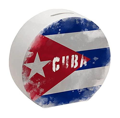 Spardose mit Kuba-Flagge im Used Erscheinungsbild - Sparschwein für Urlauber eine schöne Sparbüchse mit der kubanischen Nationalflagge verziert um auf die Reise nach Kuba zu sparen