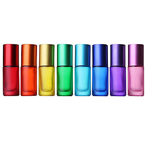 8 Piezas de 5 ml de Colores Rollo Esmerilado en Botellas con Bola de Metal para aceites Esenciales, aromaterapia, perfumes