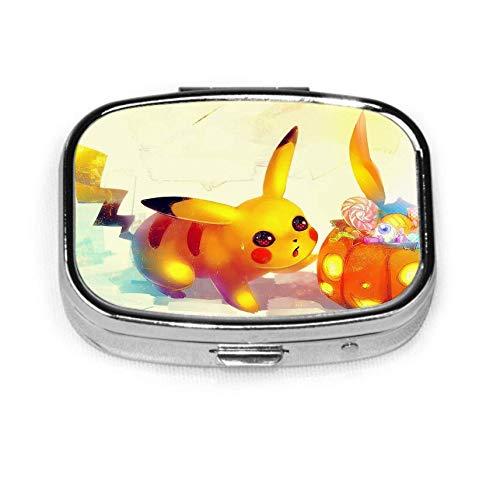 Pikachu Silver Square Pill Box Medizin Tablettenhalter Brieftasche Organizer Fall für Tasche oder Geldbörse