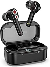 LETSCOM Wireless Earbuds, Bluetooth 5.0 in-Ear Headphones with Dual Drivers, HiFi Bass Stereo, 27H Playtime, LED Display and USB-C Quick Charge, Built-in Microphone Earphones for Home Office Work