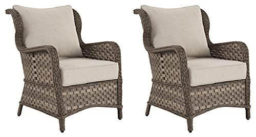 Signature Design by Ashley Clear Ridge Outdoor Wicker Patio Lounge Chair, Set of 2, Light Brown