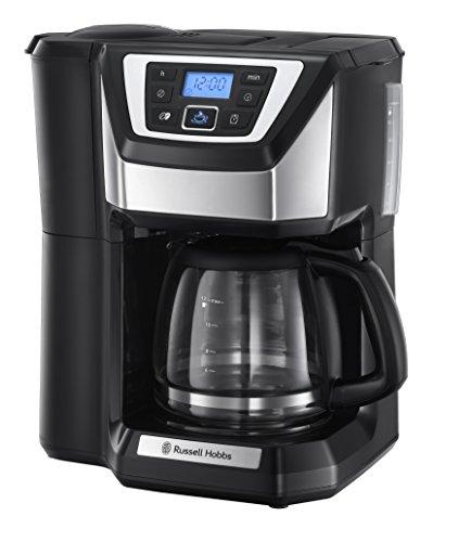 Russell Hobbs Kaffeemaschine mit Mahlwerk Victory (1,5l Glaskanne, 12 Tassen, digitaler programmierbarer Timer, Mahlgradeinstellung, Kaffeeautomat für Kaffeebohnen, Filterkaffeemaschine 22000-56