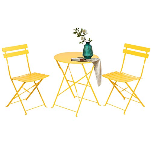 Grand patio Bistro Set 3 Pieces, Garden Furniture Set, 2 Chairs and 1 Table, Premium Steel, Easy to Fold, Patio Table Chairs for Balcony,Yard, Garden (Yellow)