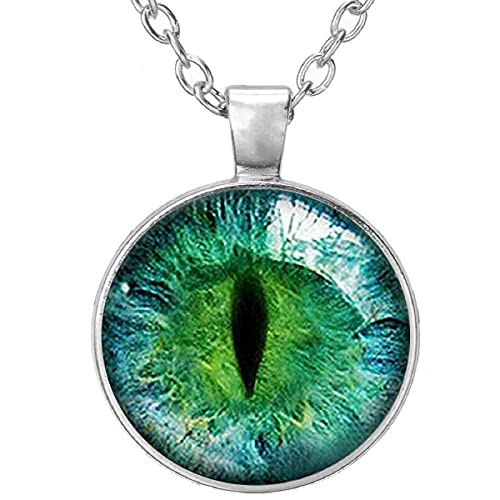 Beautiful Colored Green Cat Eye Glass Cabochon Silver Pendant Necklace