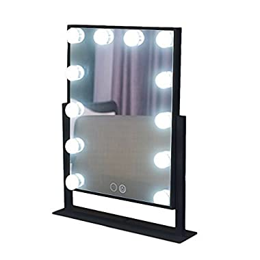 Large Makeup Mirror Touch Screen with 12 Big LED Bulbs Lighted Adjustable Brightness (Black)