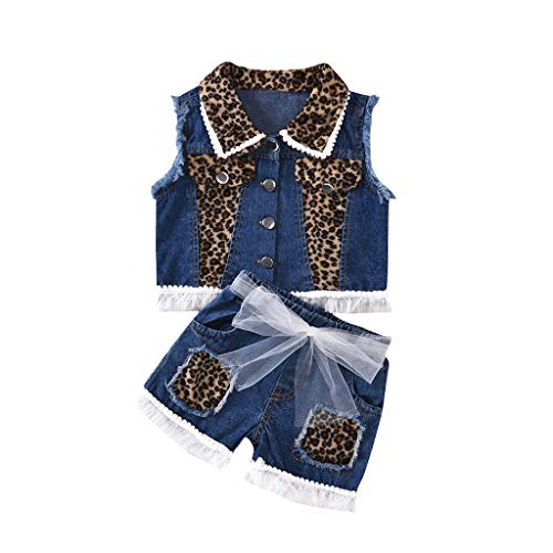 SIN+MON Toddler Baby Girls Sleeveless Button Down Shirts Top +Leopard Bow Shorts Jeans Clothes Outfits Set 1-6 Years Blue