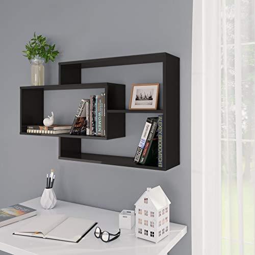 Festnight Wandregal mit 3 offenen Fächern Bücherregal Hängeregal Schweberegal Wandboard Regal 104×24×60 cm Spanplatte Hochglanz-Schwarz