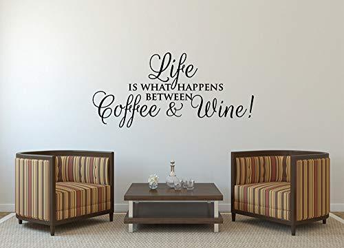 guijiumai Kaffee & Wein Wandaufkleber Lustige Wandtattoo Zitat Sagen Cafe Küche Wanddekor Wasserdicht Home Innendekoration Aufkleber104X48CM