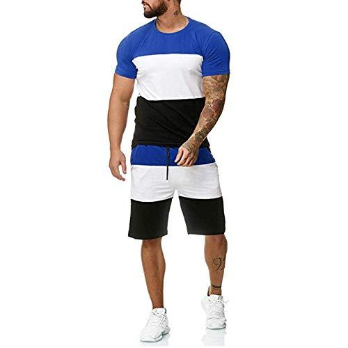 Conjunto de Chándal Corto Hombre,Verano Camiseta Manga y Pantalon Transpirable y de Secado rápido Ideal para Gym Correr Trotar Caminar (Azul, M)