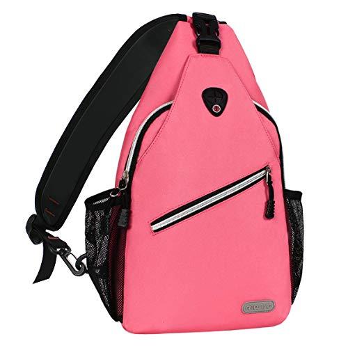 MOSISO Sling Backpack, Multipurpose Crossbody Shoulder Bag Travel Hiking Daypack, Live Coral