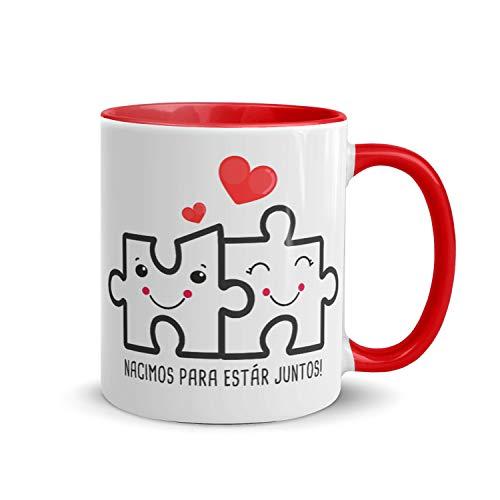 Kembilove Tazas de Desayuno para Parejas – Taza de Café Rojas con Mensaje Nacimos para estar juntos – Regalos Originales para Regalar en San Valentín, Cumpleaños – Tazas de 350 ml