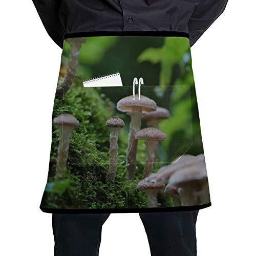 JINCAII Taille servieren Schürze Pilze wachsen im Wald Kellnerin Kostüm Schürze mit großen Tasche Unisex für die Küche Handwerk Grill Zeichnung
