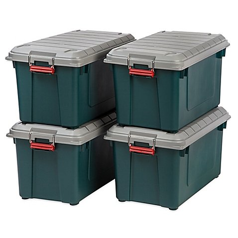 IRIS Store-It-All 21.8-Gallon Heavy Duty Storage Tote in Green (Set of 4)