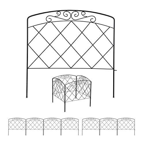 Relaxdays 8 TLG. Beetzaun, Beetumrandung für Garten, Dekozaun Metall, antikes Design, Zierzaun, HxB: 41,5 x 490 cm, schwarz