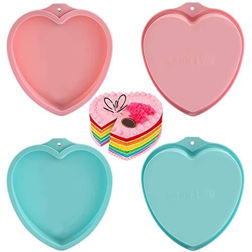 8 Zoll Kuchenform, backformen Set, Kuchenform Silikon, 4 Stück Herzbackform, Backform Silikon, Silikon Herz Kuchenform, Antihaftende Herz Backformen für Schichtkuchen/Kuchen/Brote/Pizza(Rot, Blau)
