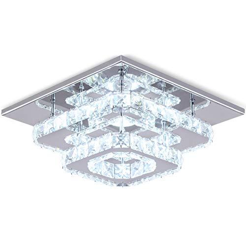 Finktonglan Crystal LED Ceiling Light, Ceiling Crystal Lamp Stainless Steel K9 Modern Flush Mount Lights Fixture Square Chandelier Ceiling Lamp for Dining Room Living Room Bedroom (Cool White)