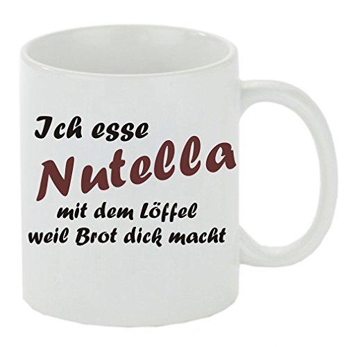 Crealuxe Kaffeebecher Ich Esse Nutella mit dem Löffel Weil Brot dick Macht Kaffeetasse mit Motiv, Bedruckte Tasse mit Sprüchen oder Bildern - auch individuelle Gestaltung