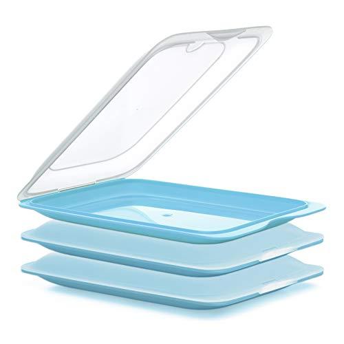 PracticFood - Lote de 3 Porta Embutidos y Alimentos Sistema FRESH, Conservación Optima de Lonchas en Nevera, Color Azul, Medidas 17 x 3.2 x 25.2 cm