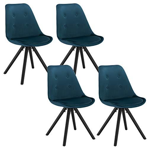 WOLTU 4X Silla de Comedor Nórdica Asiento de Terciopelo Estilo Vintage Pata de Madera Maciza con Respaldo Silla Diseño Moderno Azul BH196bl-4