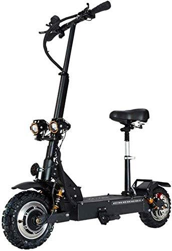 LIRUI Elektroroller Erwachsene , 3200W Motor Höchstgeschwindigkeit 85 Km/H Doppelantrieb 11-Zoll-Offroad-Reifen Zusammenklappbarer Pendelroller Mit Sitz Und 60-V-Batterie