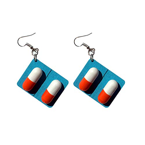 Babysbreath17 Las Mujeres de Madera cápsula de la píldora Junta Pendientes Divertido Gota cuelga los Ganchos de oído de la joyería Femenina Gota para el oído Azul 3 * 2cm