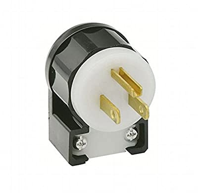 Leviton 5266-CA 15 Amp, 125 Volt, Angle Plug, Straight Blade, Industrial Grade, Grounding, Black-White (10 Pack)